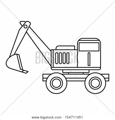 Excavator icon. Outline illustration of excavator vector icon for web