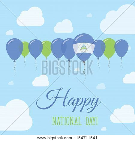 Nicaragua National Day Flat Patriotic Poster. Row Of Balloons In Colors Of The Nicaraguan Flag. Happ