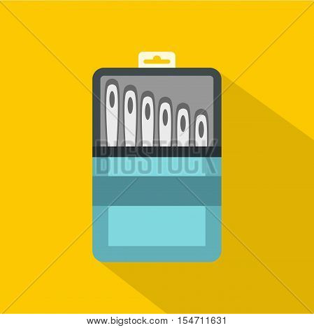 Set of needles icon. Flat illustration of set of needles vector icon for web