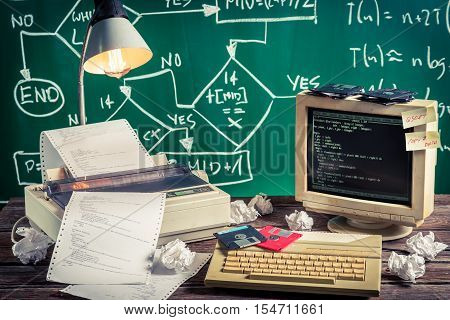 Programming work in computer lab on old wooden table