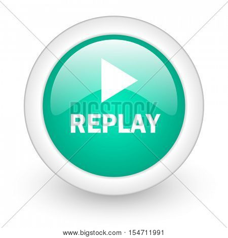 replay round glossy web icon on white background