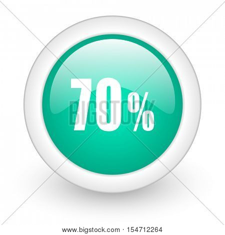 70 percent round glossy web icon on white background