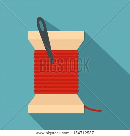 Needle and thread icon. Flat illustration of needle and thread vector icon for web