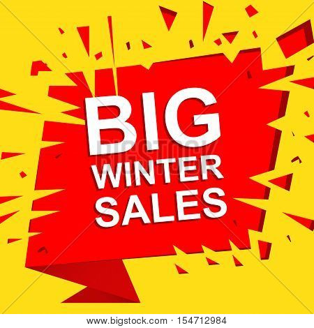 Big sale poster with BIG WINTER SALE text. Advertising boom and red  banner template