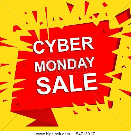 Big sale poster with CYBER MONDAY SALE text. Advertising boom and red  banner template