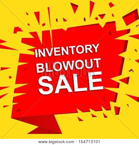 Big sale poster with INVENTORY BLOWOUT SALE text. Advertising yellow and red  banner template