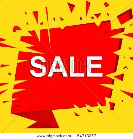 Big sale poster with SALE text. Advertising yellow and red  banner template