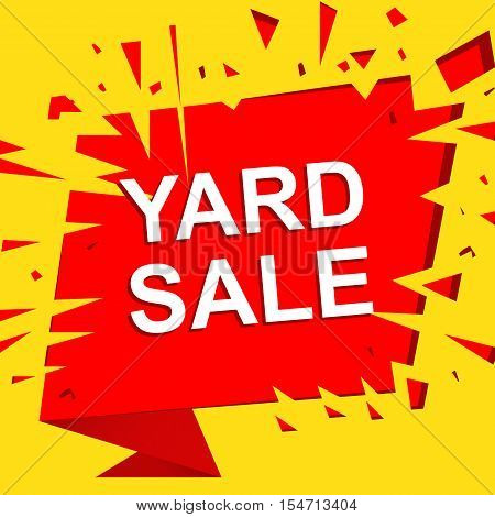 Big sale poster with YARD SALE text. Advertising boom, red  banner template