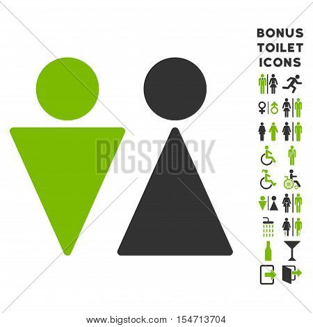 WC Persons icon and bonus male and lady WC symbols. Vector illustration style is flat iconic bicolor symbols, eco green and gray colors, white background.