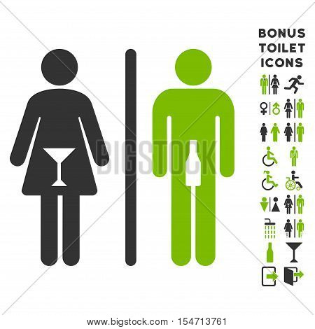 WC Persons icon and bonus gentleman and woman WC symbols. Vector illustration style is flat iconic bicolor symbols, eco green and gray colors, white background.