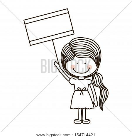 silhouette girl holding poster with ponytail vector illustration