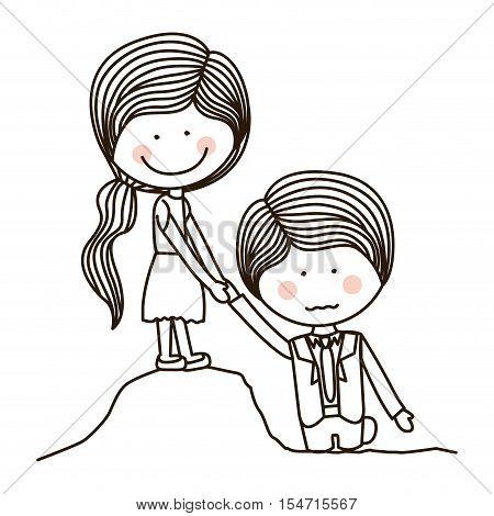 silhouette girl saving boy on quicksand vector illustration