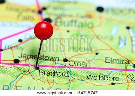 Bradford pinned on a map of Pennsylvania, USA