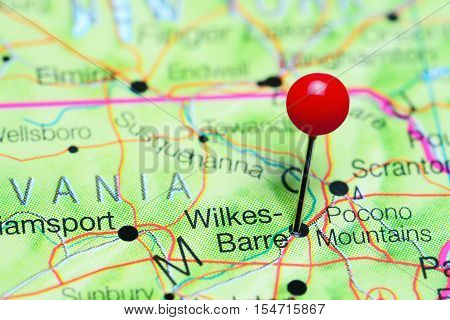 Wilkes-Barre pinned on a map of Pennsylvania, USA