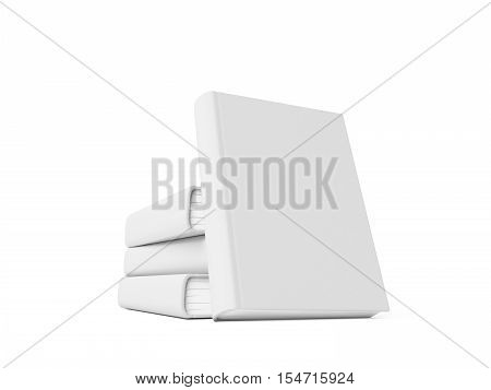 Blank book with white cover on white background. 3D rendering