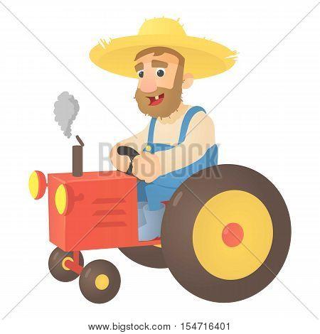 Farmer on tractor icon. Flat illustration of farmer on tractor vector icon for web