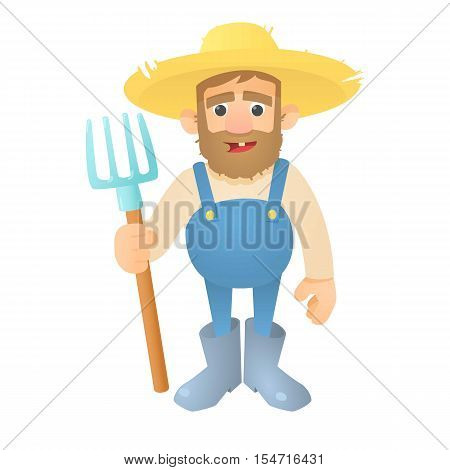 Farmer with pitchfork icon. Flat illustration of farmer with pitchfork vector icon for web