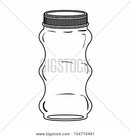 silhouette irregular glass container with lid vector illustration