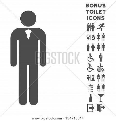 Gentleman icon and bonus gentleman and female restroom symbols. Vector illustration style is flat iconic symbols, gray color, white background.
