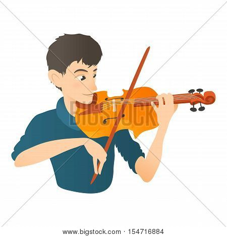 Man plays on violin icon. Flat illustration of man plays on violin vector icon for web
