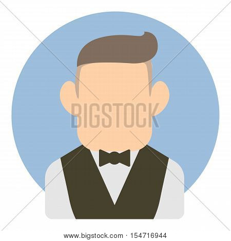 Avatar man in suit icon. Flat illustration of avatar man in suit vector icon for web