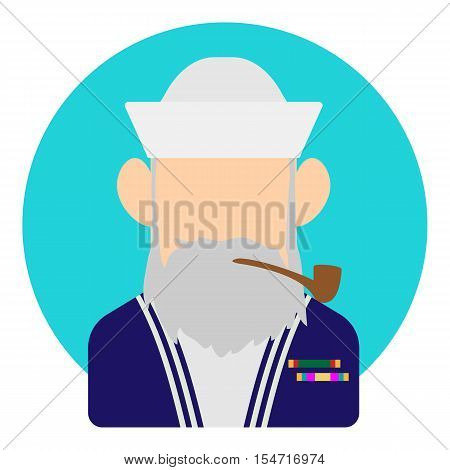 Avatar man sailor icon. Flat illustration of avatar man sailor vector icon for web