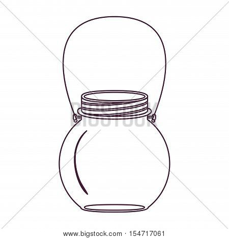 silhouette circular glass container with handle vector illustration