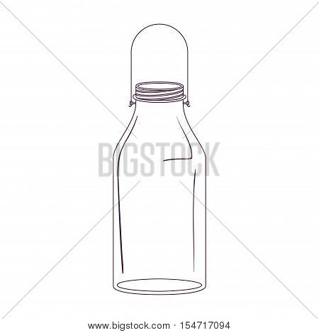 silhouette milk glass bottle with handle vector illustration