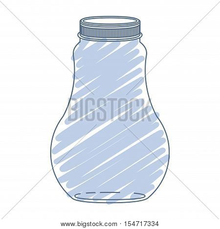 silhouette wide glass bottle with blue stripes vector illustration
