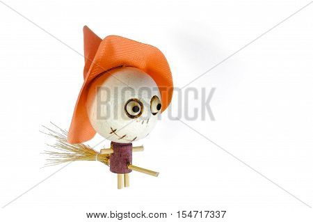 Wooden Witch Riding A Broom Magic On Halloween Day