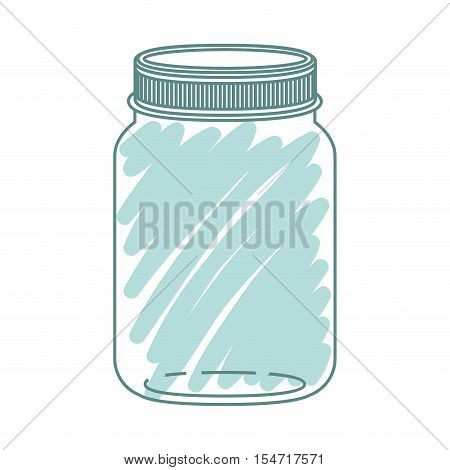 silhouette jar of jam with green stripes vector illustration