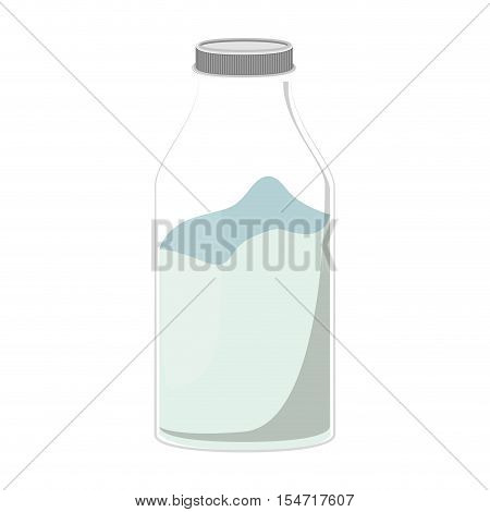 silhouette glass bottle with milk liquid vector illustration
