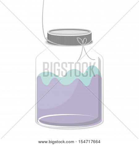 silhouette glass container with colorful liquid vector illustration
