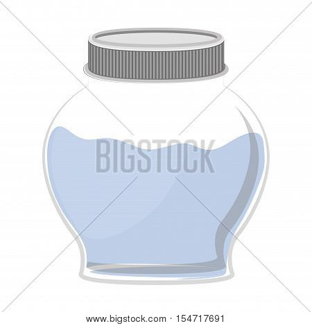 silhouette circular glass container with water vector illustration
