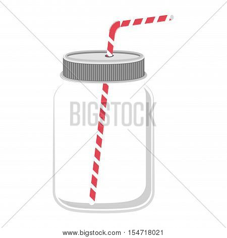 glass jar with red straw vector illustration