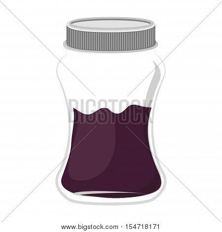 silhouette jar of violet jam with lid vector illustration