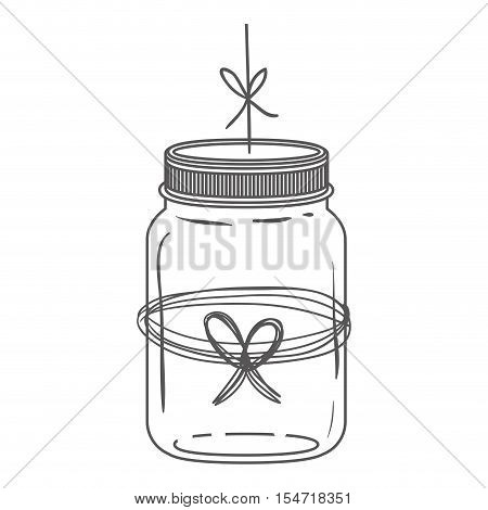 silhouette glass jar with thread in bow shape vector illustration