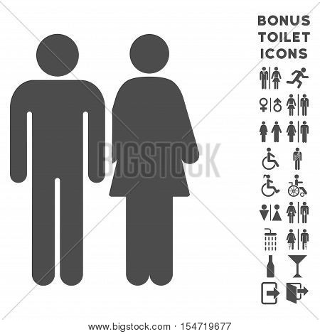 Married Couple icon and bonus male and lady toilet symbols. Vector illustration style is flat iconic symbols, gray color, white background.