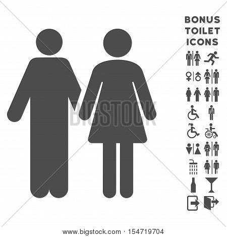 Married Couple icon and bonus man and lady restroom symbols. Vector illustration style is flat iconic symbols, gray color, white background.