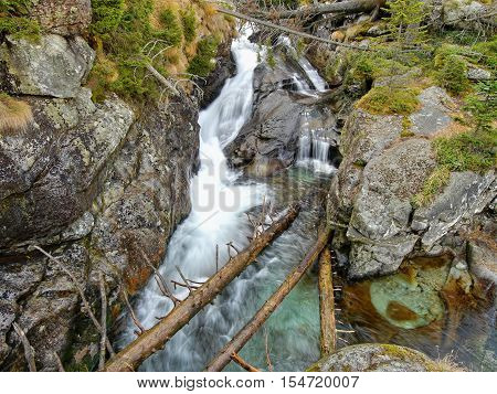 Waterfall rapids on a mountain stream. High Tatras mountains.