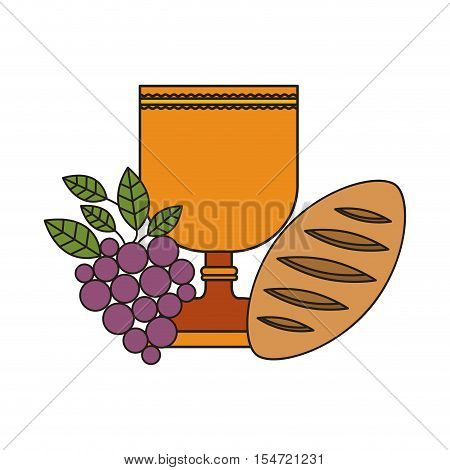 holy grail with grapes and bread. communion icon. vector illustration