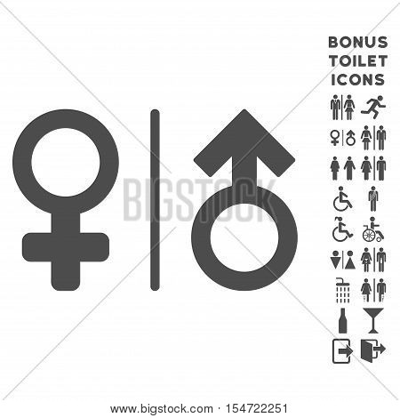 WC Gender Symbols icon and bonus male and lady WC symbols. Vector illustration style is flat iconic symbols, gray color, white background.