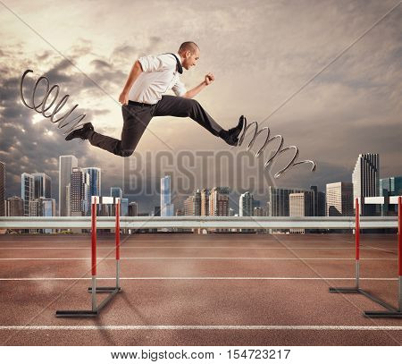 Businessman running fast with the big springs during a race with obstacles. 3D Rendering. 3D Rendering