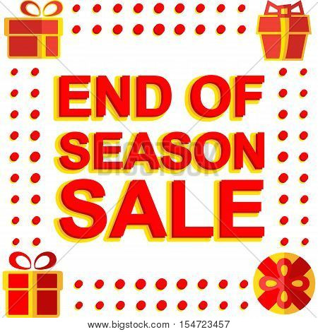 Big winter sale poster with END OF SEASON SALE text. Advertising  banner template