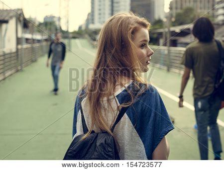 Girl Commuter Walking City Life Lifestyle Hangout Concept