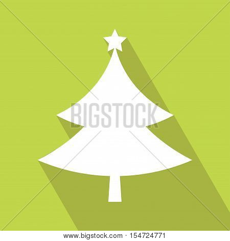 Flat Christmas tree icon. christmas tree design vector illustration. Christmas Tree flat icon. Elements for design. Christmas Tree Icon on green background.