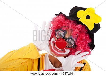 happy funny clown smiling (isolated on white)