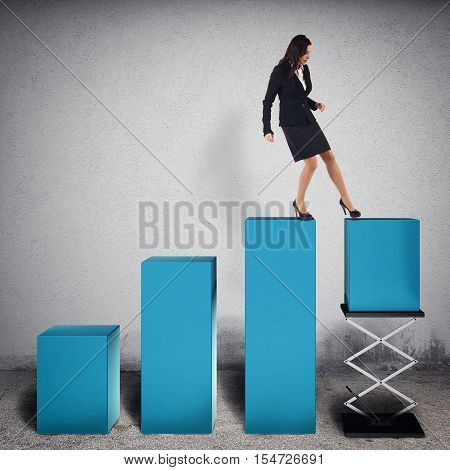 Businesswoman tampers a step of statistic lifting it with a spring to increase profits. 3D Rendering