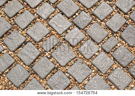 Texture or pattern of many stone walkway background in the garden.