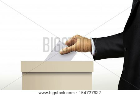 Ballot box with person in suit hand casting a vote